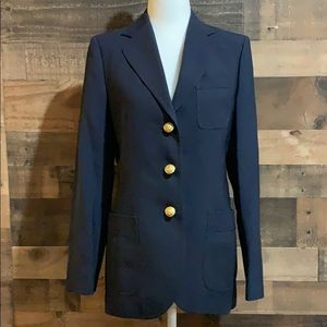 Vintage Saks Blue Blazer Jacket Gold Eagle Buttons